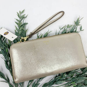 Fossil Sydney Metallic Zip Wallet Leather Clutch